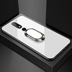 Nokia 6.1 Plus用ハイブリットバンパーケース プラスチック 鏡面 カバー アンド指輪 ノキア ホワイト
