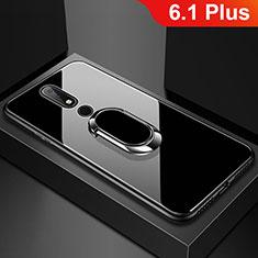 Nokia 6.1 Plus用ハイブリットバンパーケース プラスチック 鏡面 カバー アンド指輪 ノキア ブラック