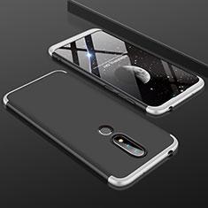 Nokia 6.1 Plus用ハードケース プラスチック 質感もマット 前面と背面 360度 フルカバー P01 ノキア シルバー
