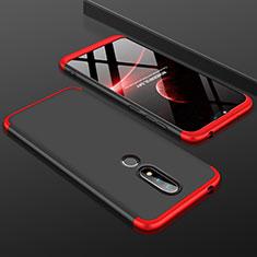 Nokia 6.1 Plus用ハードケース プラスチック 質感もマット 前面と背面 360度 フルカバー P01 ノキア レッド・ブラック