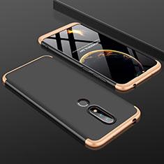 Nokia 6.1 Plus用ハードケース プラスチック 質感もマット 前面と背面 360度 フルカバー P01 ノキア ゴールド・ブラック