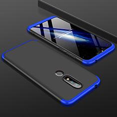 Nokia 6.1 Plus用ハードケース プラスチック 質感もマット 前面と背面 360度 フルカバー P01 ノキア ネイビー・ブラック