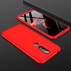 Nokia 6.1 Plus用ハードケース プラスチック 質感もマット 前面と背面 360度 フルカバー P01 ノキア レッド
