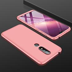 Nokia 6.1 Plus用ハードケース プラスチック 質感もマット 前面と背面 360度 フルカバー P01 ノキア ローズゴールド