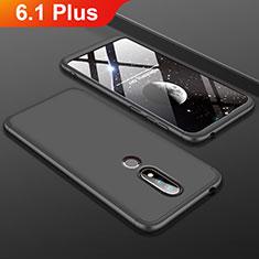 Nokia 6.1 Plus用ハードケース プラスチック 質感もマット 前面と背面 360度 フルカバー P01 ノキア ブラック