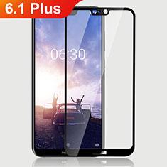 Nokia 6.1 Plus用強化ガラス フル液晶保護フィルム ノキア ブラック