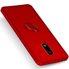 Nokia 6用ハードケース プラスチック 質感もマット アンド指輪 ノキア レッド