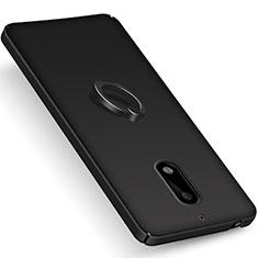 Nokia 6用ハードケース プラスチック 質感もマット アンド指輪 ノキア ブラック