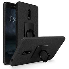 Nokia 6用ハードケース カバー プラスチック アンド指輪 ノキア ブラック