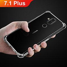 Nokia 7.1 Plus用極薄ソフトケース シリコンケース 耐衝撃 全面保護 クリア透明 T02 ノキア クリア