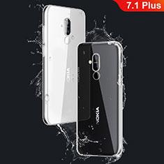 Nokia 7.1 Plus用極薄ソフトケース シリコンケース 耐衝撃 全面保護 クリア透明 T03 ノキア クリア