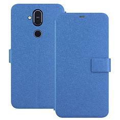 Nokia 7.1 Plus用手帳型 レザーケース スタンド L01 ノキア ネイビー