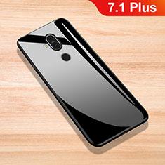 Nokia 7.1 Plus用ハイブリットバンパーケース プラスチック 鏡面 カバー ノキア ブラック