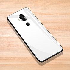 Nokia 7.1 Plus用ハイブリットバンパーケース プラスチック 鏡面 カバー ノキア ホワイト