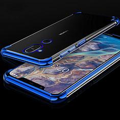Nokia 7.1 Plus用極薄ソフトケース シリコンケース 耐衝撃 全面保護 クリア透明 H01 ノキア ネイビー