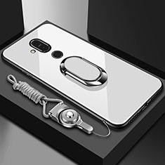 Nokia 7.1 Plus用ハイブリットバンパーケース プラスチック 鏡面 カバー アンド指輪 ノキア ホワイト