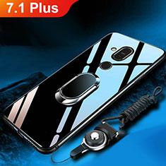 Nokia 7.1 Plus用ハイブリットバンパーケース プラスチック 鏡面 カバー アンド指輪 ノキア ブラック