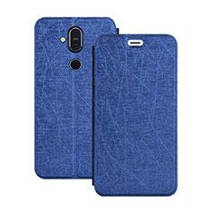 Nokia 7.1 Plus用手帳型 レザーケース スタンド L02 ノキア ネイビー