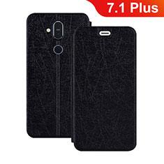 Nokia 7.1 Plus用手帳型 レザーケース スタンド L02 ノキア ブラック