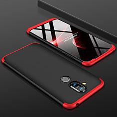 Nokia 7.1 Plus用ハードケース プラスチック 質感もマット 前面と背面 360度 フルカバー ノキア レッド・ブラック
