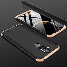 Nokia 7.1 Plus用ハードケース プラスチック 質感もマット 前面と背面 360度 フルカバー ノキア ゴールド・ブラック