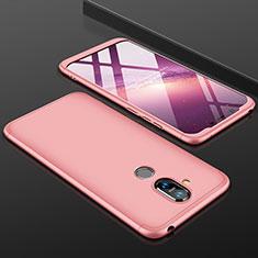 Nokia 7.1 Plus用ハードケース プラスチック 質感もマット 前面と背面 360度 フルカバー ノキア ローズゴールド