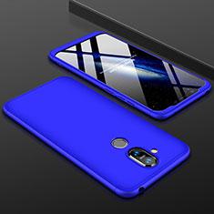 Nokia 7.1 Plus用ハードケース プラスチック 質感もマット 前面と背面 360度 フルカバー ノキア ネイビー