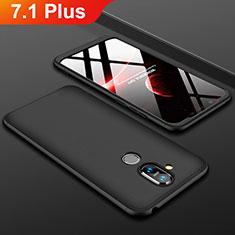 Nokia 7.1 Plus用ハードケース プラスチック 質感もマット 前面と背面 360度 フルカバー ノキア ブラック