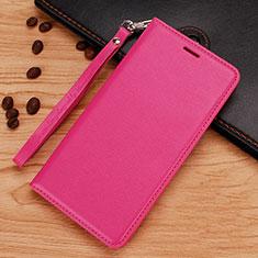 Nokia 7.1 Plus用手帳型 レザーケース スタンド ノキア ローズレッド