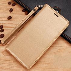 Nokia 7.1 Plus用手帳型 レザーケース スタンド ノキア ゴールド