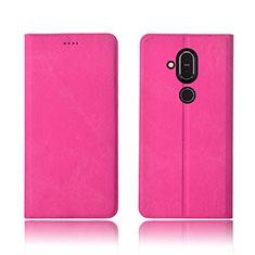Nokia 7.1 Plus用手帳型 布 スタンド ノキア ローズレッド