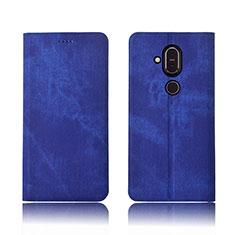Nokia 7.1 Plus用手帳型 布 スタンド ノキア ネイビー