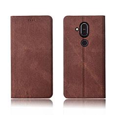 Nokia 7.1 Plus用手帳型 布 スタンド ノキア ブラウン