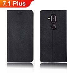 Nokia 7.1 Plus用手帳型 布 スタンド ノキア ブラック