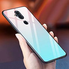 Nokia 7.1 Plus用ハイブリットバンパーケース プラスチック 鏡面 虹 グラデーション 勾配色 カバー ノキア ブルー