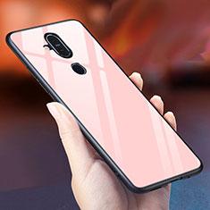 Nokia 7.1 Plus用ハイブリットバンパーケース プラスチック 鏡面 虹 グラデーション 勾配色 カバー ノキア ローズゴールド