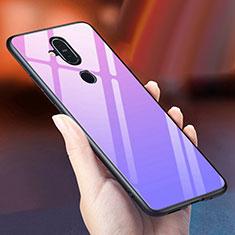 Nokia 7.1 Plus用ハイブリットバンパーケース プラスチック 鏡面 虹 グラデーション 勾配色 カバー ノキア パープル