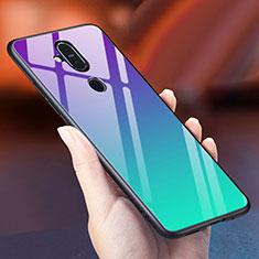 Nokia 7.1 Plus用ハイブリットバンパーケース プラスチック 鏡面 虹 グラデーション 勾配色 カバー ノキア シアン