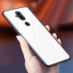 Nokia 7.1 Plus用ハイブリットバンパーケース プラスチック 鏡面 虹 グラデーション 勾配色 カバー ノキア ホワイト