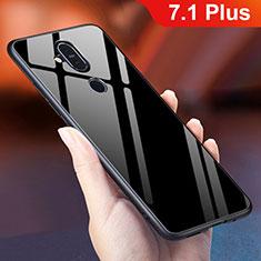 Nokia 7.1 Plus用ハイブリットバンパーケース プラスチック 鏡面 虹 グラデーション 勾配色 カバー ノキア ブラック
