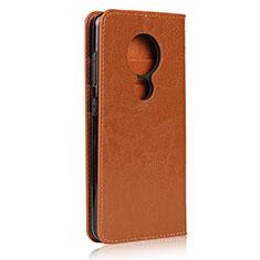 Nokia 7.2用手帳型 レザーケース スタンド カバー L01 ノキア オレンジ