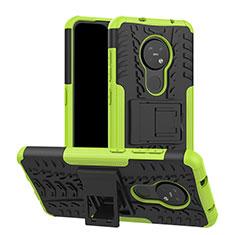 Nokia 7.2用ハイブリットバンパーケース スタンド プラスチック 兼シリコーン カバー ノキア グリーン