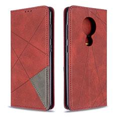 Nokia 7.2用手帳型 レザーケース スタンド カバー L05 ノキア レッド