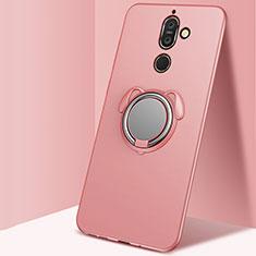 Nokia 7 Plus用極薄ソフトケース シリコンケース 耐衝撃 全面保護 アンド指輪 マグネット式 バンパー ノキア ローズゴールド