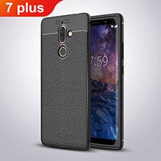 Nokia 7 Plus用シリコンケース ソフトタッチラバー レザー柄 ノキア ブラック