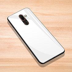 Nokia 7 Plus用ハイブリットバンパーケース プラスチック 鏡面 カバー ノキア ホワイト