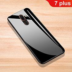 Nokia 7 Plus用ハイブリットバンパーケース プラスチック 鏡面 カバー ノキア ブラック