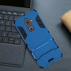Nokia 7 Plus用ハイブリットバンパーケース スタンド プラスチック 兼シリコーン カバー ノキア ネイビー