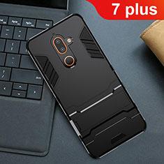 Nokia 7 Plus用ハイブリットバンパーケース スタンド プラスチック 兼シリコーン カバー ノキア ブラック