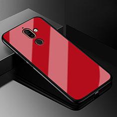 Nokia 7 Plus用ハイブリットバンパーケース プラスチック 鏡面 カバー M01 ノキア レッド